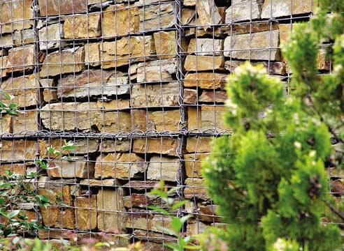 Подпорные стенки из камня в сетке