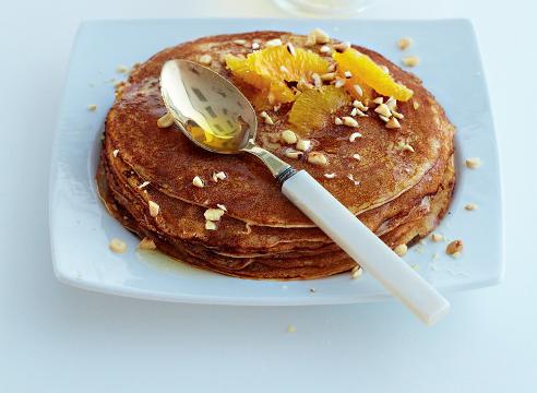масленица; блины на рикотте с апельсинами и медом