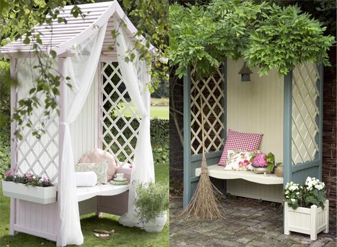 деревянные конструкции в саду, идеи для дачи, скамейка с навесом
