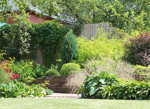 Сад Дмитрия Патрикеева, идеи для сада, дизайн сада, цветники, высокая клумба, мощение, бордюр, каркасный цветник, приподнятый цветник, дорожки в саду