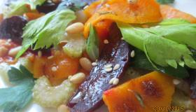 Салат из запеченных овощей с кедровыми орешками. Шаг 5