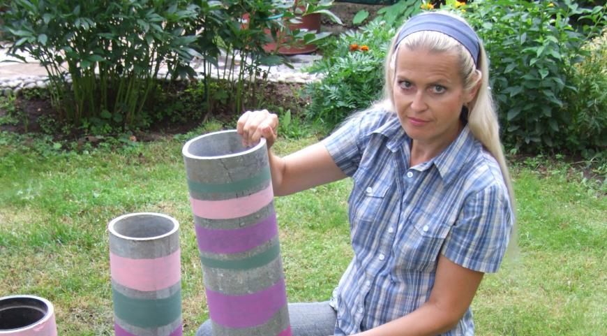 Садовый hand made: даже обрезки асбоцементных труб можно пустить в дело
